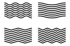 Линии волнистых и зигзага Развевая линии комплект элемента Стоковое фото RF