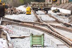 Линии железнодорожного пути на земле Стоковые Изображения RF