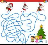Линии игра лабиринта с характерами Санта иллюстрация штока