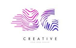 Линии дизайн зебры BG b g логотипа письма с magenta цветами Стоковая Фотография