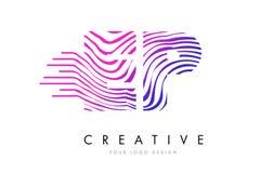 Линии дизайн зебры EP e p логотипа письма с magenta цветами Стоковые Изображения RF