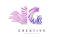 Линии дизайн зебры IG i q логотипа письма с magenta цветами Стоковое Изображение RF