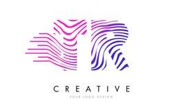 Линии дизайн зебры TR t r логотипа письма с magenta цветами Стоковые Изображения RF