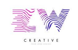 Линии дизайн зебры ZW z w логотипа письма с magenta цветами Стоковые Изображения RF