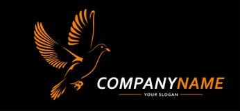 Линии дизайн конспекта логотипа голубя Творческая икона также вектор иллюстрации притяжки corel Стоковое Изображение