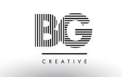Линии дизайн BG b g черно-белые логотипа письма Стоковые Фото