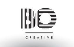 Линии дизайн BO b o черно-белые логотипа письма Стоковое Изображение RF