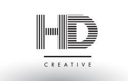 Линии дизайн HD h d черно-белые логотипа письма Стоковая Фотография