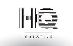 Линии дизайн HQ h q черно-белые логотипа письма Стоковая Фотография