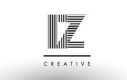 Линии дизайн IZ i z черно-белые логотипа письма Стоковые Изображения