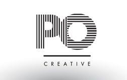Линии дизайн PO p o черно-белые логотипа письма Стоковые Фотографии RF