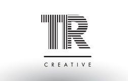 Линии дизайн TR t r черно-белые логотипа письма Стоковая Фотография RF