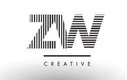 Линии дизайн ZW z w черно-белые логотипа письма Стоковое Фото