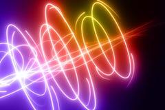 Линии изогнутые, радугой покрашенные накаляя кривые и круги конструируют иллюстрация вектора