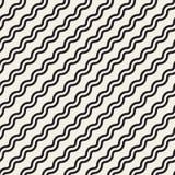 Линии картина вектора безшовные черно-белые простые раскосные волнистые Стоковые Фото