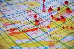 Линии краски, воска и ручки, абстрактная предпосылка Стоковая Фотография