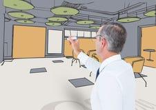 Линии офиса чертежа старшего человека дела с цветом Стоковое Фото