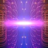 Линии предпосылка абстрактного вектора фиолетовые сетки Биолюминесценция щупальец Футуристическая карточка стиля Стоковое Изображение