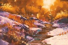 Линии реки с камнями в лесе иллюстрация вектора