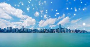 Линии сетевого подключения цифров центра города и Victo Гонконга стоковые изображения rf