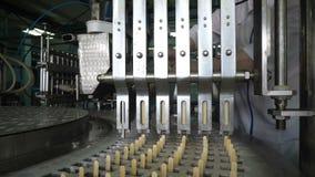 Линии транспортера автоматические для продукции мороженого сток-видео