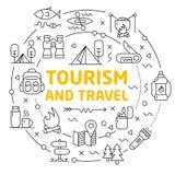 Линии туризм и перемещение круга иллюстрации значков Стоковое фото RF