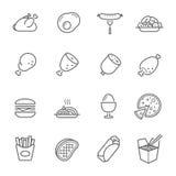 Линии установленный значок - западная еда бесплатная иллюстрация