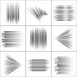 Линии частицы скорости летания воюют график Manga штемпеля Лучи или звезда Солнця разрывали черные элементы вектора Стоковое Изображение