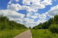 Линии электропередач в лесе, облаках и голубом небе, деревьях, солнечном дне стоковые фото