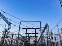Линии электропередач Распределение силы стоковая фотография rf
