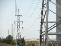 Линии электропередач в горизонте Стоковое Изображение