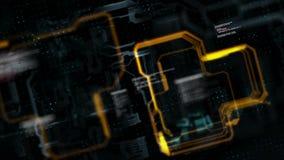 Линия абстрактной цепи предпосылки электронная для концепции технологии с малой глубиной обрабатываемых темноты и зерна поля