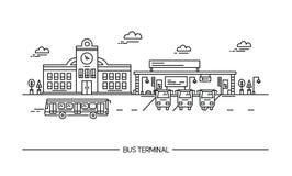Линия автовокзал искусства, станция Иллюстрация в плоском стиле Стоковое Изображение RF