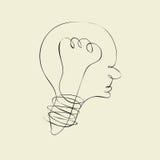 Линия лампочки любит линия головы и профиля Стоковые Изображения RF