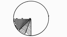 Линия анимация долевой диограммы иллюстрации цвета чертежа trasnparent сток-видео