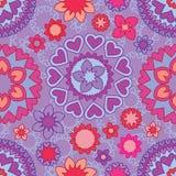 Линия безшовная картина цветка мандалы влюбленности Стоковое фото RF
