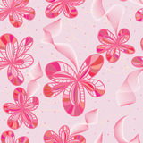 Линия безшовная картина цветка розовая стильная Стоковое фото RF