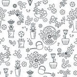 Линия безшовная картина цветка Иллюстрация вектора