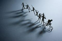 Линия бумажных людей Стоковое Изображение