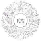 Линия вектор значков игрушки рамки doodle круглый Стоковое фото RF