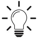 Линия вектор электрической лампочки значка, изолированный на белой предпосылке Стоковое Фото