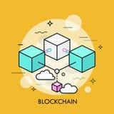 Линия вектор Blockchain тонкая концепции иллюстрация вектора