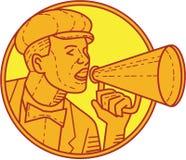 Линия винтажного круга мегафона режиссера Mono Стоковые Фотографии RF