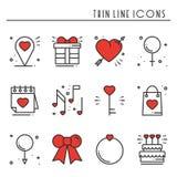 Линия влюбленности установленные значки Счастливые знаки и символы дня валентинки Влюбленность, пара, отношение, датировка, свадь иллюстрация штока
