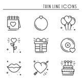 Линия влюбленности установленные значки Счастливые знаки и символы дня валентинки Влюбленность, пара, отношение, датировка, свадь бесплатная иллюстрация