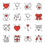 Линия влюбленности установленные значки Счастливые знаки и символы дня валентинки Влюбленность, пара, отношение, датировка, свадь иллюстрация вектора