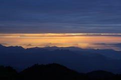 Линия восход солнца Chuanzang южная горы niubei стоковое фото rf