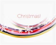 Линия волны с снежинками абстрактное рождество предпосылки Стоковые Изображения RF