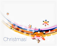 Линия волны с снежинками абстрактное рождество предпосылки Стоковые Фото