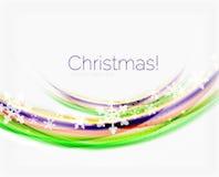 Линия волны с снежинками абстрактное рождество предпосылки Стоковая Фотография RF